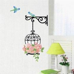 m-din Naklejki Na Ścianę Ścienne 3D Róże Klatka Ptaszki
