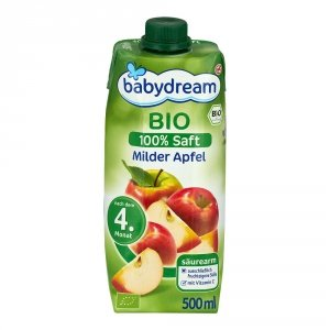 Babydream Bio 100% Sok Delikatne Jabłko 4m 500ml