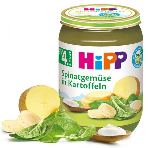 Hipp Bio Kremowy Szpinak z Ziemniakami 4m 190g