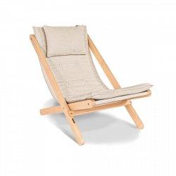 Allegro leżak z drewna naturalnego/poduszka kremowa Woodman