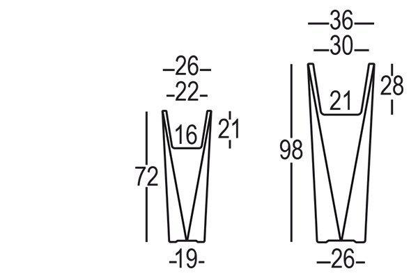 Donica DIAMOND dostępna jest w dwóch rozmiarach: wys. 72cm i wys. 98cm