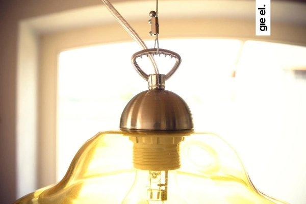 Oliwkowa lampa wisząca szklana duża Gie El