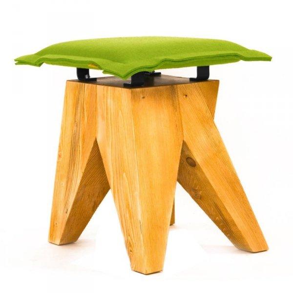 Stołek drewniany Low limonkowy Gie El