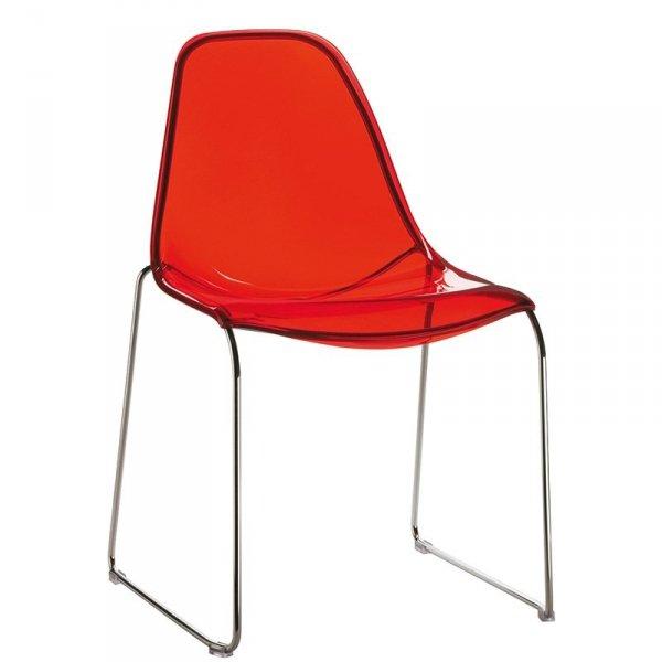 Lekie i wytrzymałe krzesła Day Dream 401 Pedrali czerwone transparentne