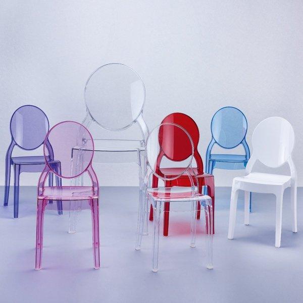 Nowoczesne krzesła do pokoju dziecięcego Elizabeth Baby są bardzo wytrzymałe, odporne na zarysowania, warunki atmosferyczne, promieniowanie UV.