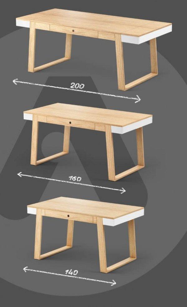 Stół Magh dostępny jest w 3 rozmiarach (w/sz/gł): 75/140/80; 75/160/90 cm; 75/198/100;