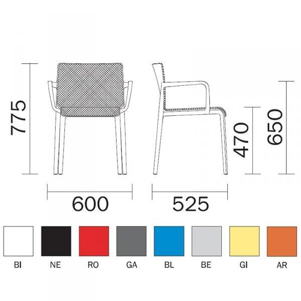 Krzesło Volt 676 Pedrali wymiary i kolory ramy