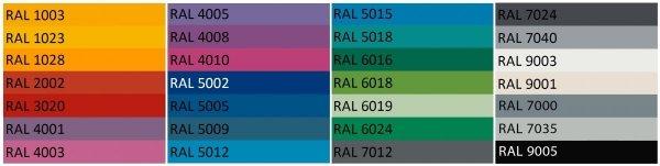 Zewnętrzne donice Etro dostępne są w wielu kolorach RAL