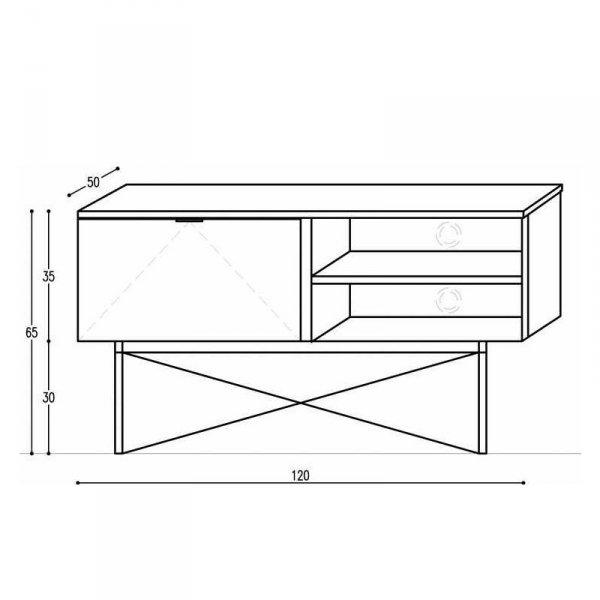 Sideboard Minko TV z zamykaną szafką oraz 2 półkami wymiary