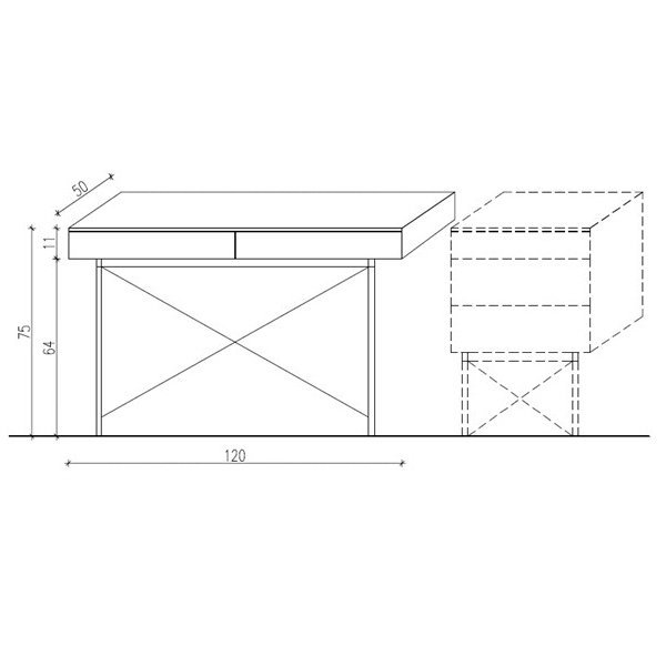 Biurko Minko Basic 120x50x75 wymiary