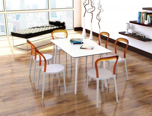 Stół Maya 140 Siesta oraz krzesła Bibi