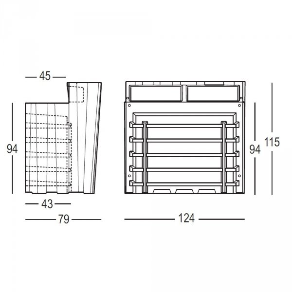 Bar modułowy Frozen PLUST wymiary cm 124 x 79 x 115h
