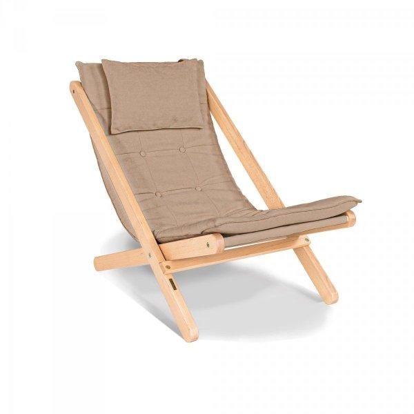 Allegro leżak z drewna naturalnego lakierowanego olejem lnianym/beżowa poduszka Woodman