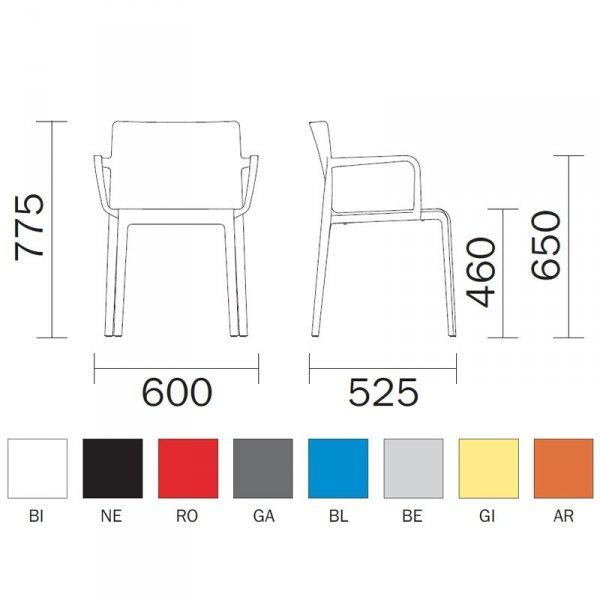 Volt 675 Pedrali wymiary i kolory