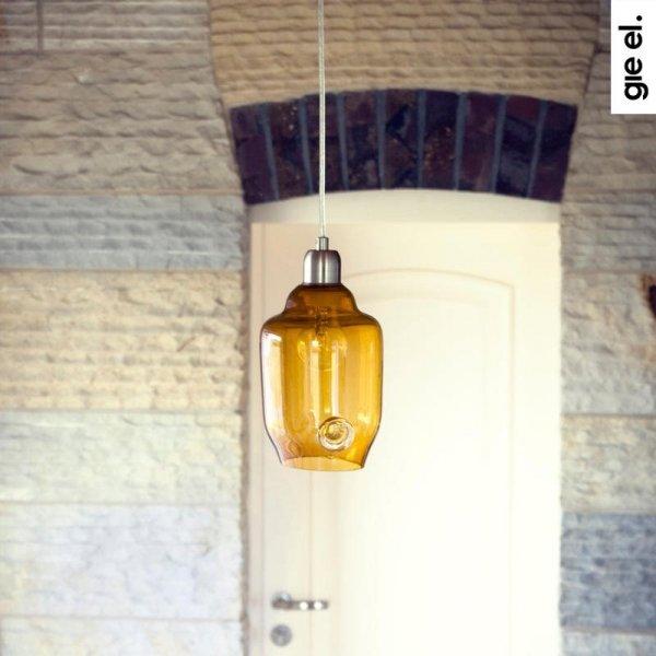 Miodowa lampa wisząca szklana mała Gie El