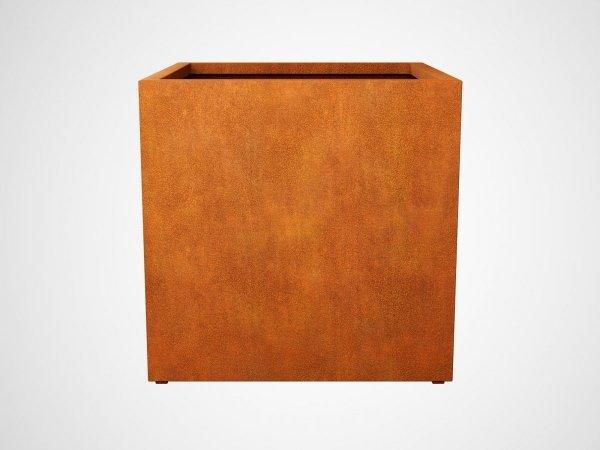 duża kwadratowa donica wykonana z cortenu