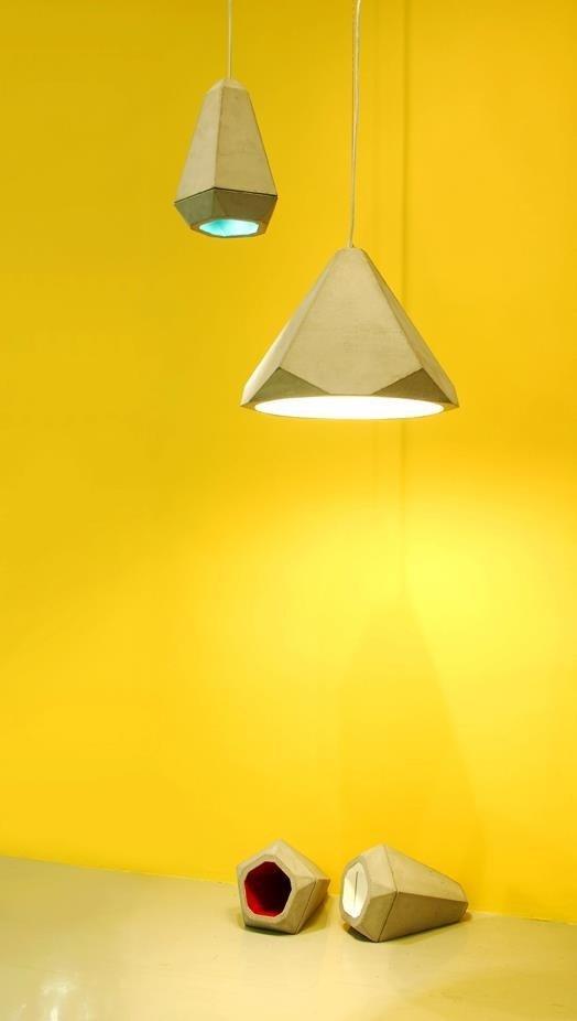 Portland lampa wisząca duża betonowa z kolorowym środkiem Innermost