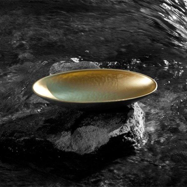 Stylowa podłużna miska Luna Złota