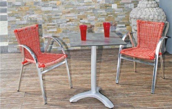 Fotel Bahamas bicolore z technorattanu czerwono-szary