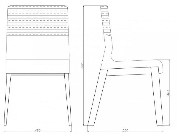 Krzesło dębowe niskie Kyla Absynth dwukolorowe