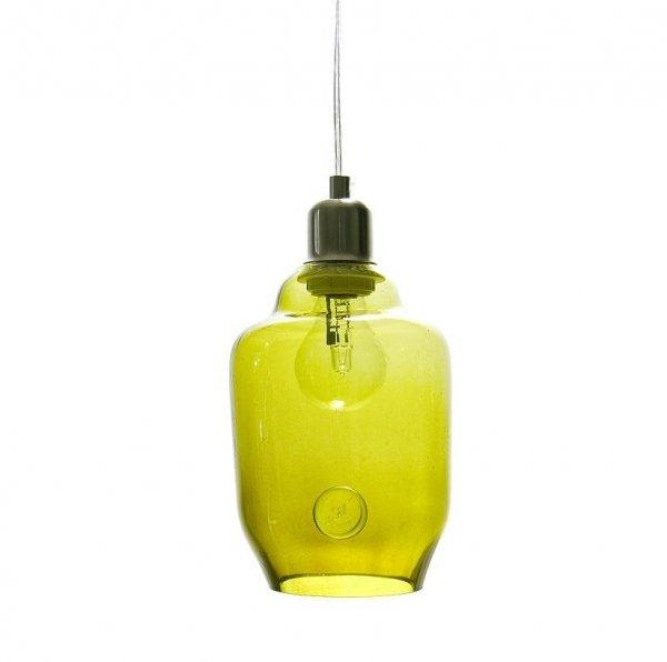 Oliwkowa lampa wisząca szklana mała Gie El