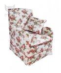 Fotel w czerwone różyczki z kontrastową lamówką Marie