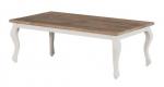 Biały prowansalski stolik z dębowym blatem NO.57