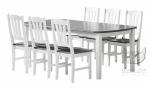 Piękny komplet w bielach i szarościach COUNTRY stół z wkładką + krzesła