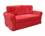 Czerwona sofa z funkcją spania i zdejmowanym pokrowcem- FLOWER 166 cm/FS