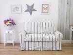 Biała sofa w niebieskie pasy ściągany pokrowiec Marie 166 cm/FS