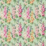Tkanina miętowe kwiaty HOLLYHOCKS 224309