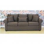 Brązowa sofa do angielskiego salonu Gizelda 220 cm nierozkładana