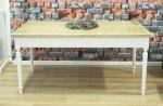 Stół w stylu Hampton biały z dębowym blatem Connor 160x90 cm