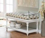 Biała ozdobna ławka w stylu cottage Linda 70 cm