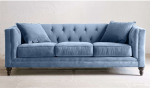Pikowana sofa w welvetowej tkaninie Donna 225 cm