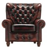 Skórzany fotel z wysokim oparciem Chesterfield Premier