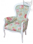 Wysoki drewniany fotel obicie w kwiaty stylizowany Foglia