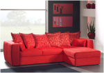 Czerwona sofa z otomaną i funkcją spania JESSY