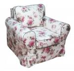 Fotel z zieloną lamówką pokrowiec w kwiaty Marie