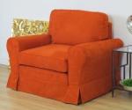 Kolorowa kanapa carrot jednoosobowa funkcja spania Flower 126 cm