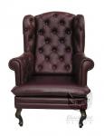Fotel w czekoladowej skórze naturalnej Królewski fotel