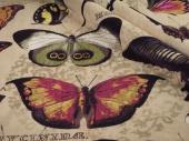 Wiskoza z bawełną na tapicerkę wzór motyli Jungle Velvet 01