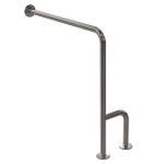 WC Stützgriff für barrierefreies Bad zur Wand-Boden-Montage links aus rostfreiem Edelstahl ⌀ 32 mit Abdeckrosetten