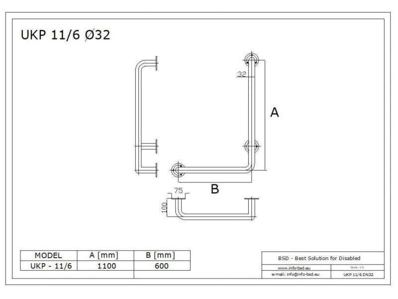 Winkelgriff für barrierefreies Bad Stangenlänge 110/60cm rechts montiert. aus rostfreiem Edelstahl ⌀ 32 mm