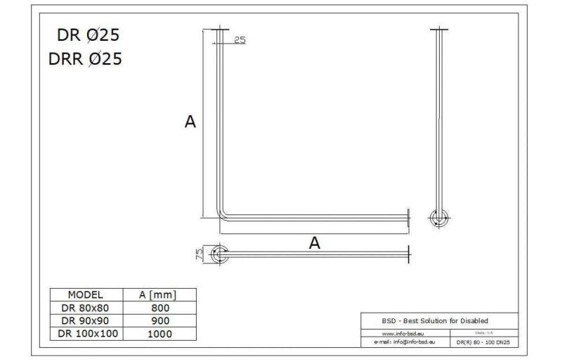 Winkelförmige Duschvorhangstange aus Edelstahl 80 x 80 cm