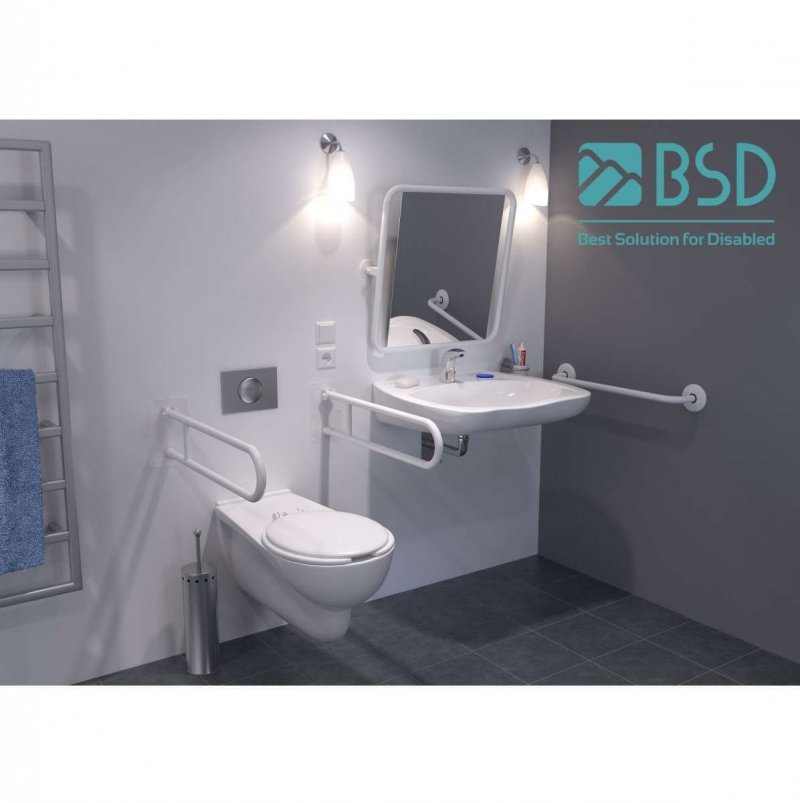 Handlauf für barrierefreies Bad 140 cm weiß ⌀ 32 mm mit Abdeckrosetten