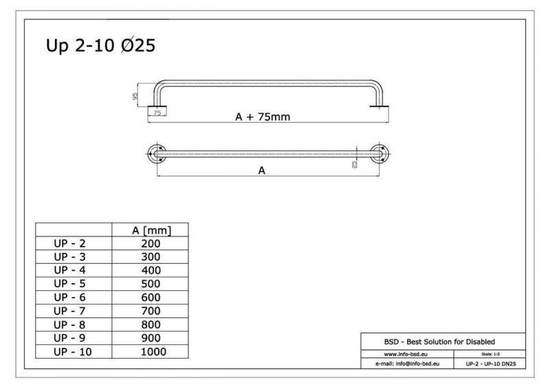 Gerader Handlauf für barrierefreies Bad 20 cm  aus rostfreiem Edelstahl ⌀ 25 mm