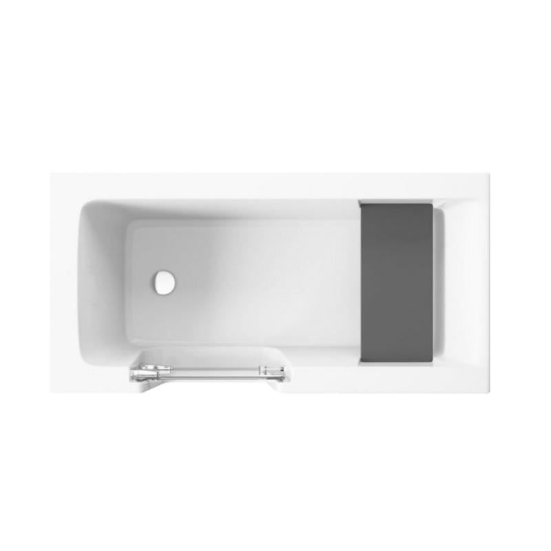 Badewanne für barrierefreies Bad mit Tür links und integrierter abnehmbarer Sitzbank für Senioren VOVO 160 cm