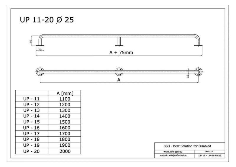Gerader Handlauf für barrierefreies Bad 110 cm  aus rostfreiem Edelstahl ⌀ 25 mm