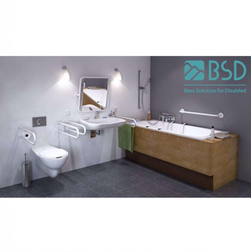 WC Stützgriff für barrierefreies Bad zur Bodenmontage rechts 80 cm hoch weiß ⌀ 32 mm
